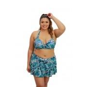 Conjunto De Biquíni Saia Plus Size Sustentação Frente Única Estampado Azul Marinho E Verde