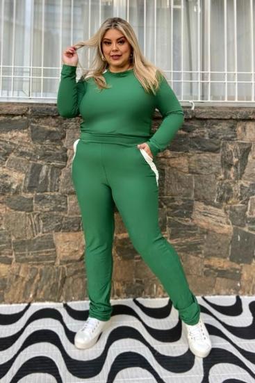 Conjunto De Malha Plus Size Verde