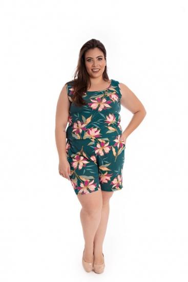 Macaquinho Plus Size De Malha Verde Estampado Floral
