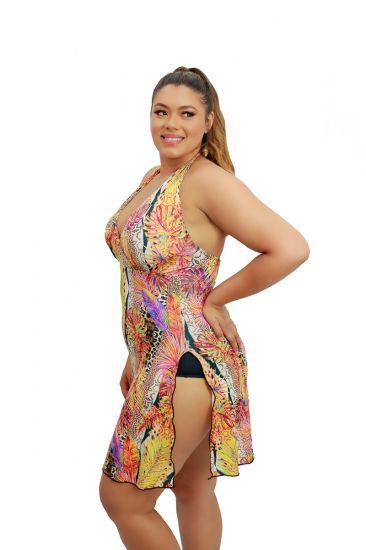 Maiô Saia Preto Vestido Longuete Saída De Praia Plus Size Frente Única Com Bojo Amarelo Estampado