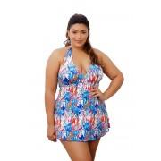 Maiô Saia Vestido Saída De Praia 2 em 1 Plus Size Azul Estampado Com Bojo