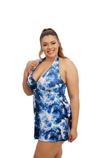 Maiô Saia Vestido Saída De Praia Frente Única Com Bojo Plus Size Azul Estampado Tiê Dye