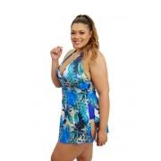 Maiô Saia Vestido Saída De Praia Frente Única Com Bojo Plus Size Azul Estampado Tropical