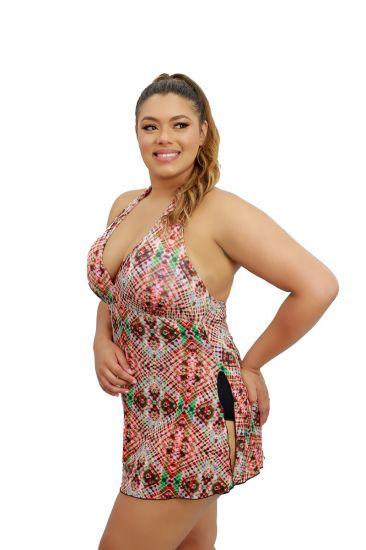 Maiô Saia Vestido Saída De Praia Frente Única Com Bojo Plus Size Preto Estampado Tiê Dye
