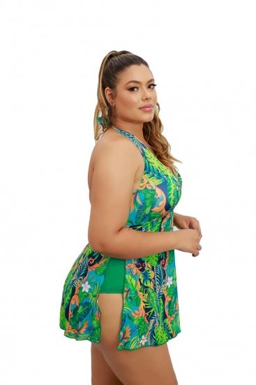 Maiô Saia Vestido Saída De Praia Frente Única Com Bojo Plus Size Verde Estampado