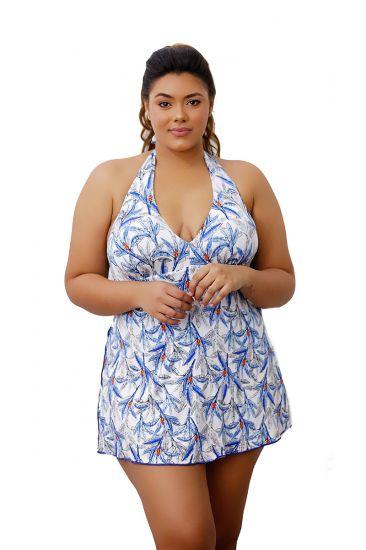 da8bd70d4e9b Maiô Saia Vestido Saída De Praia Plus Size Azul Estampado Com Bojo