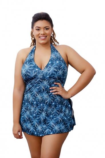 Maiô Vestido Saia Plus Size Estampado Com Bojo Do 48 ao 52