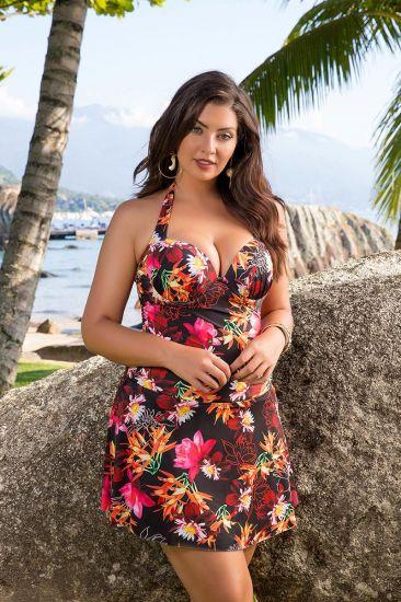 Maiô Vestido Saia Saída De Praia Estampada Plus Size Com Bojo Sustentação E Decote Nas Costas