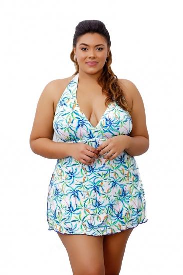 Maiô Vestido Saída De Praia Saia Plus Size Azul Estampado Com Bojo