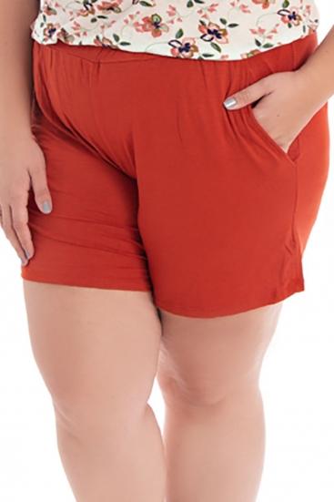 Short Plus Size De Malha Caramelo Terracota Liso