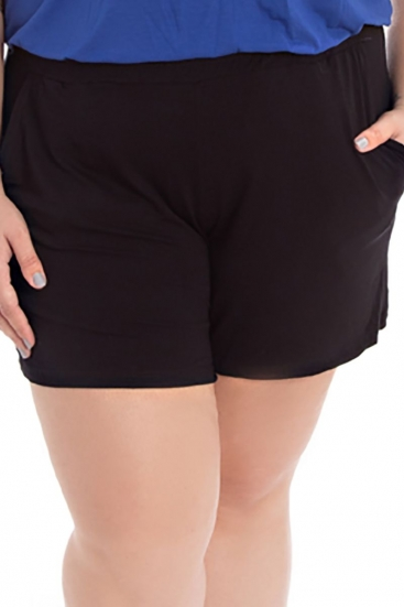 Short Plus Size De Malha Preto Liso