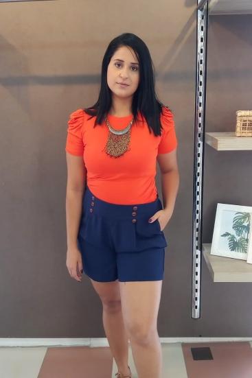 Shorts Azul Marinho em Viscose Com Botões