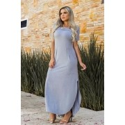 Vestido De Malha Longo Cinza Básico Com Bolsos