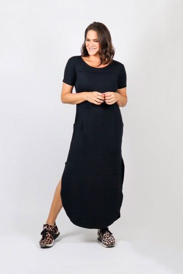 Vestido De Malha Longo Preto Básico Com Bolsos