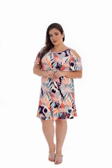 Vestido De Malha  Plus Size Colorido Estampado De Manguinha