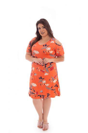 Vestido Plus Size De Malha Coral Alaranjado Estampado De Manguinha