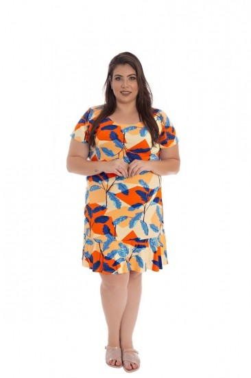 Vestido De Malha Plus Size Curto Laranja Estampado
