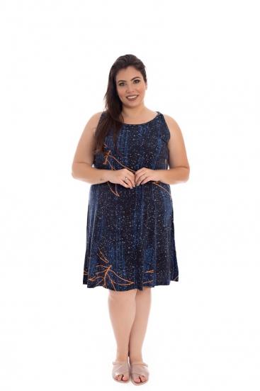 Vestido De Malha Plus Size Azul Marinho Estampado Regata