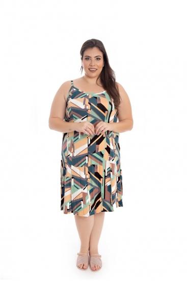 Vestido Plus Size De Malha Midi Estampado Colorido De Alcinha