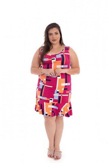 Vestido Plus Size Curto De Malha Rosa E Laranja Estampado Regata