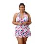 Maiô Vestido Saia Saída De Praia Com Bojo Fixo Rosa Estampado