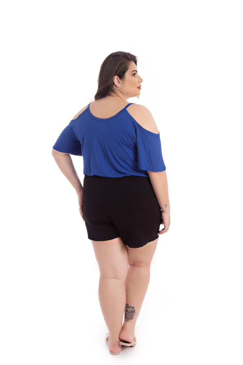 Blusa T-Shirt Plus Size Básica Lisa Azul Royal