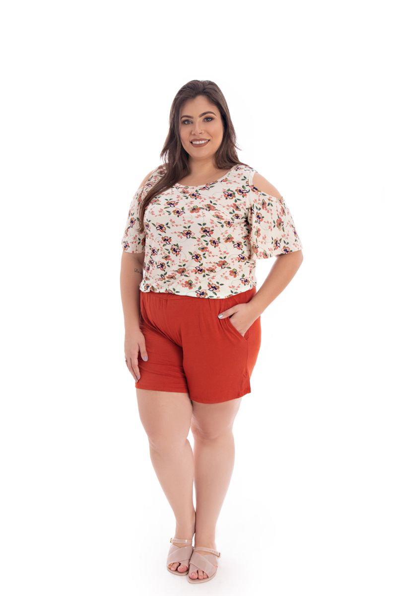Blusa T-Shirt Plus Size Estampada Floral