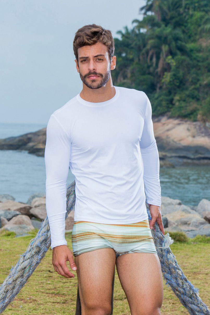 Camiseta Masculina Manga Longa Branca Com Proteção UV 9407f6e73de