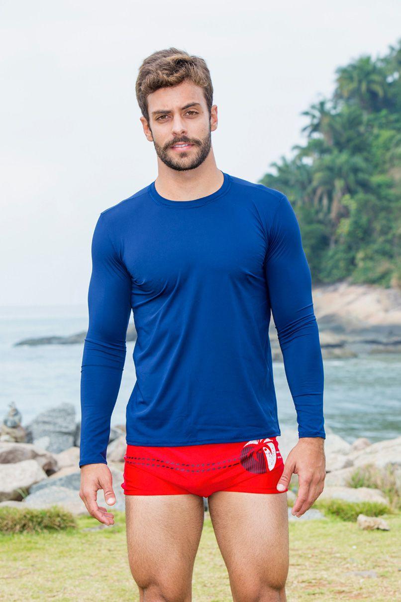 b048175b0840b Camiseta Masculina Com Proteção UV Azul Manga Longa