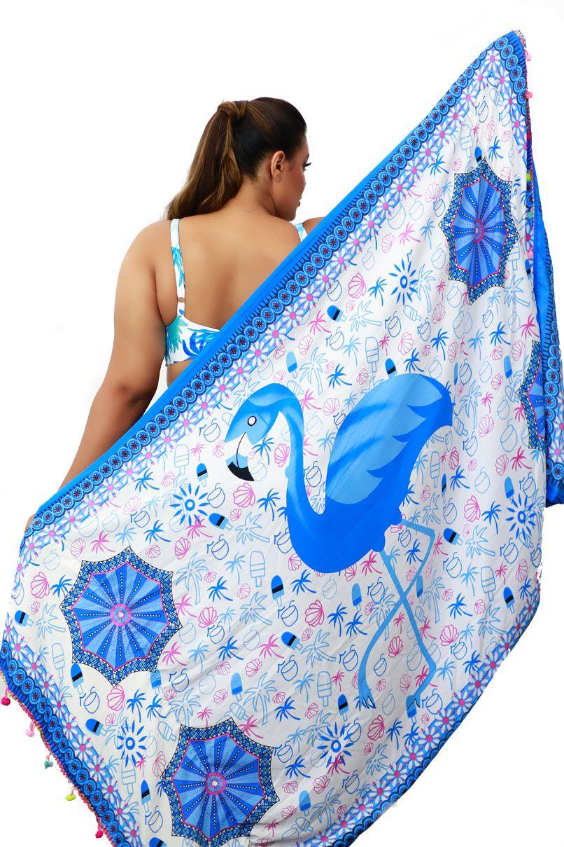 8e069f80748b Canga De Praia Toalha 2 Em 1 Estampada Flamingo Azul