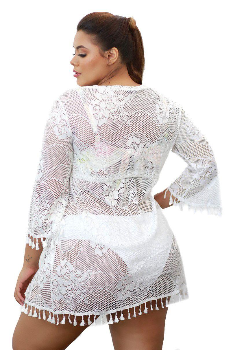 e3b76642e501 Saída de Praia Plus Size De Renda Branca Kimono Com Manga Flare
