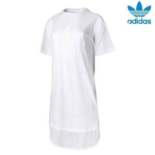 Vestido Branco adidas Originals Acabamento Em Tela Ce4133