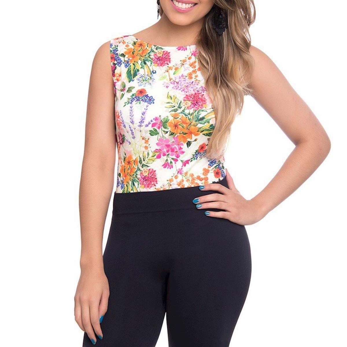 Body Regata Lupo Loba Trend 47006 Fit Casual Estampa Floral