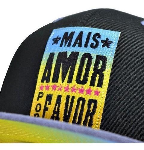 Boné True Heart Top Aba Reta Hip Hop Sp Mais Amor Por Favor