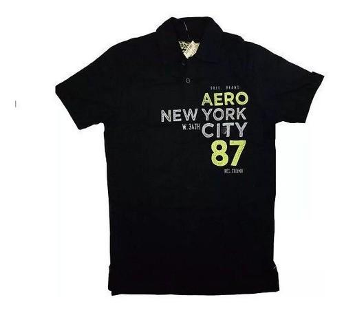 Camisa Polo Aeropostale Estilo Casual Preta Estampada 6062