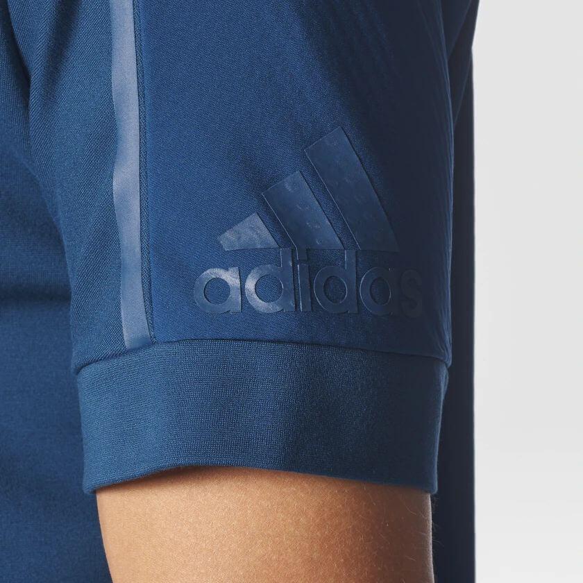 Camiseta Azul adidas Crew Com Zíper Lateral Modelo Luxo