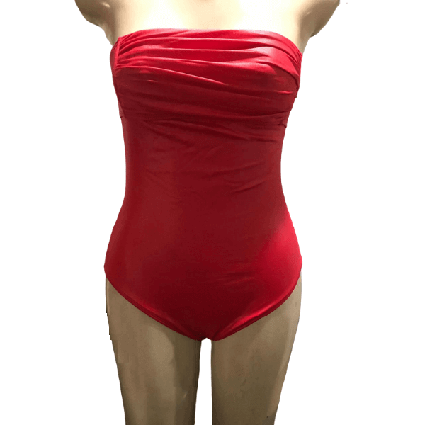 Maiô Vermelho Da Líquido Moda Praia Body Tomara Que Caia