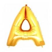 Balão Metalizado Dourado Letra A 1 metro