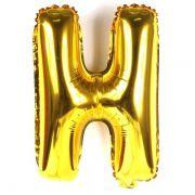 Balão Metalizado Dourado Letra H - 40cm