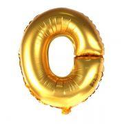 Balão Metalizado Dourado Letra O - 40cm
