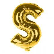 Balão Metalizado Dourado Letra S - 40cm