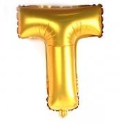 Balão Metalizado Dourado Letra T 1 metro