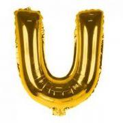 Balão Metalizado Dourado Letra U - 40cm
