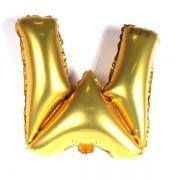 Balão Metalizado Dourado Letra W - 40cm