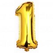 Balão Metalizado Dourado Número 1 - 40cm
