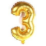 Balão Metalizado Dourado Número 3 - 40cm