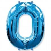 Balão Metalizado Número 0 Azul - 1 metro