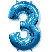 Balão Metalizado Número 3 Azul - 1 metro