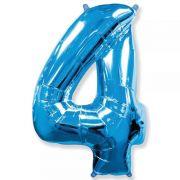 Balão Metalizado Número 4 Azul - 1 metro