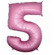 Balão Metalizado Número 5 Rosa - 1 metro